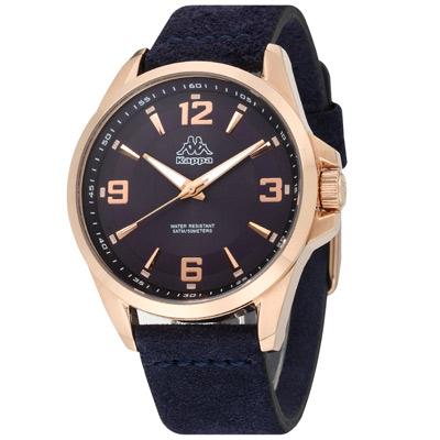 Kappa 逆光時刻經典時尚腕錶-藍/45mm
