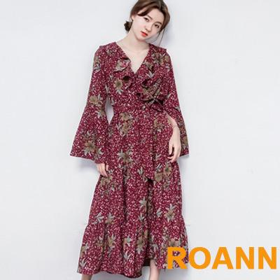 木耳邊拼接印花雪紡洋裝 (共二色)-ROANN