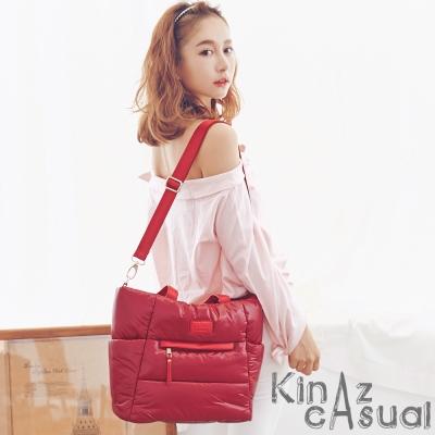 KINAZ casual 質感輕盈兩用斜背托特包-靚麗桃-空氣漫步系列