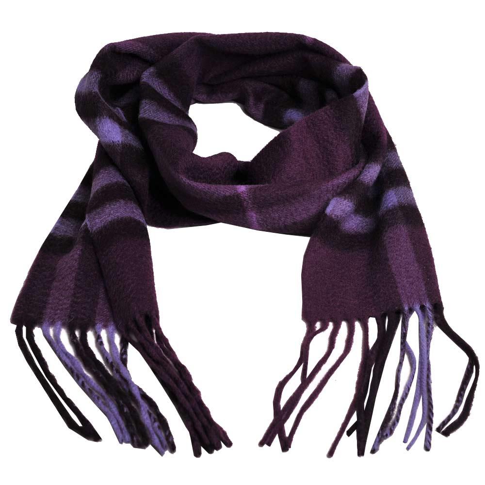 BURBERRY 經典格紋100% 喀什米爾羊毛長窄版圍巾(紫紅色)