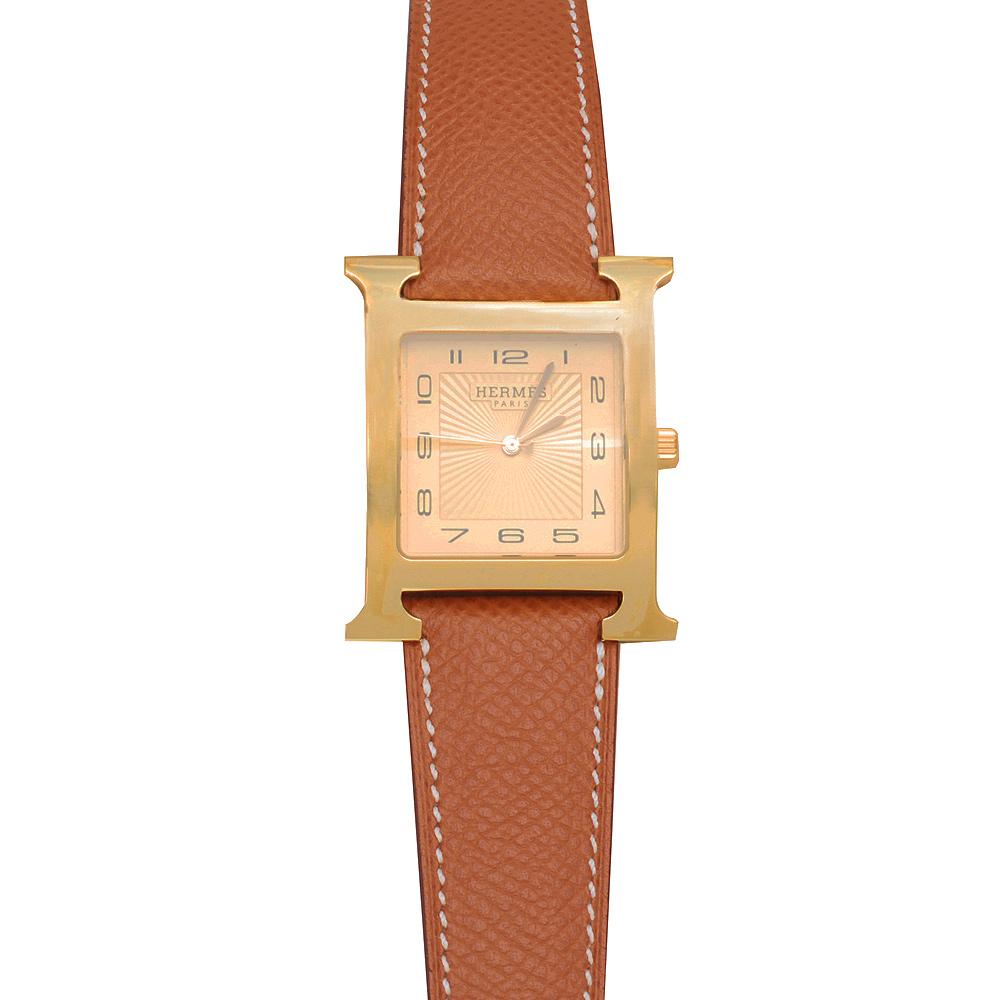 HERMES H-our系列小牛皮金框石英腕錶-棕色-P年/26mm