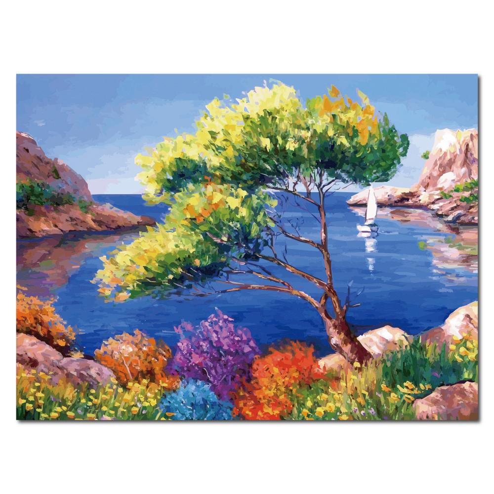 橙品油畫布 - 單聯海景風複製無框藝術掛畫 - 大海 30x40cm