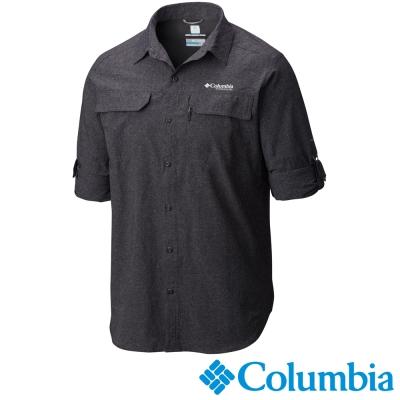【Columbia哥倫比亞】男-鈦 酷涼快排長袖襯衫-黑灰色 UAE15790BY