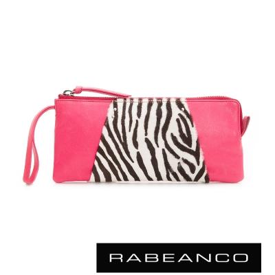 RABEANCO-率性牛皮動物豹紋設計手拿包-桃