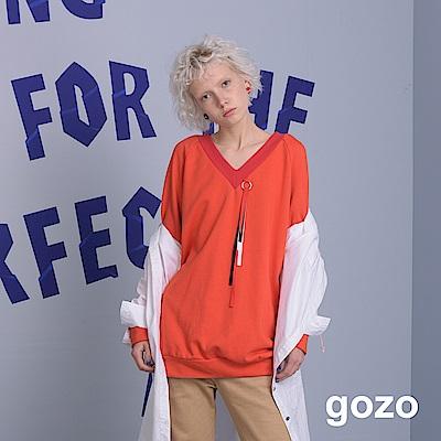 gozo V領流蘇造型長版上衣(三色)