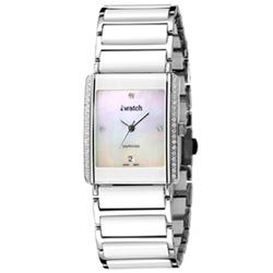 iwatch 方形陶瓷晶鑽貝質腕錶-白/24mm