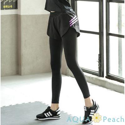 運動褲 螢光三條槓假兩件彈性長褲 (紫色)-AQUA Peach