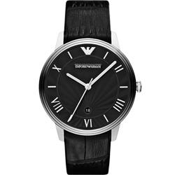 ARMANI 雅典時尚石英腕錶-黑/41mm