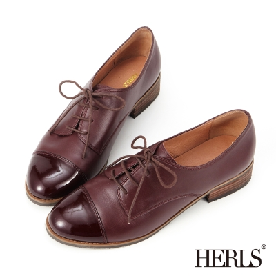 HERLS-鞋匠手作 全真皮 拼接牛津鞋-酒紅色