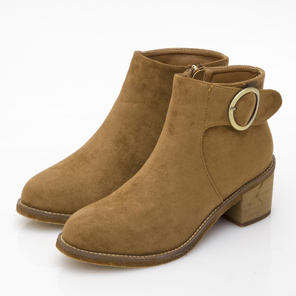 JMS-精粹質感細絨圓扣中跟短靴-棕色