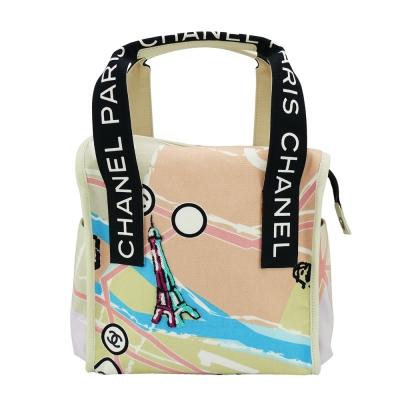 CHANEL 帆布塗鴉亮片刺繡手提包(黑)-展示品