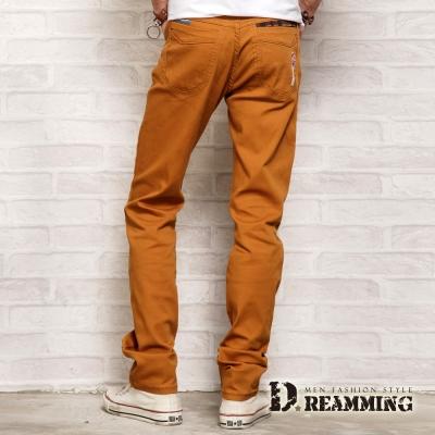 Dreamming 格紋膠印口袋伸縮休閒長褲-棕色