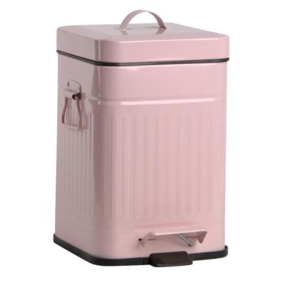 PUSH!居家生活 colourful液壓自動緩降垃圾桶12升 (粉紅色I13)