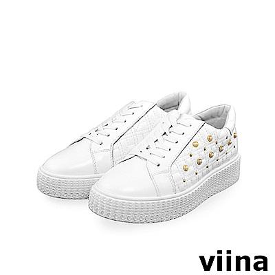 viina -休閒系列-牛皮珍珠球鞋-白