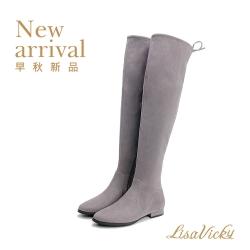 LisaVicky 秋冬必備鬆緊貼腿顯瘦過膝靴-灰色