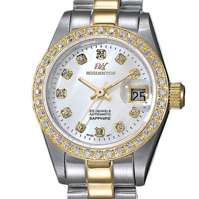 ROSDENTON 勞斯丹頓風華經典晶鑽采貝時尚機械錶-珍珠貝X金/23mm
