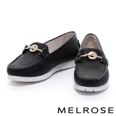 休閒鞋-MELROSE-全真皮沖孔飾釦厚底休閒鞋-黑