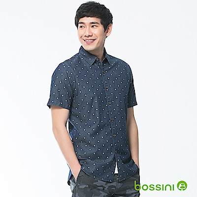 bossini男裝-牛仔短袖襯衫02靛藍