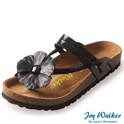 Joy Walker 夏日立體花朵夾腳拖鞋*黑色