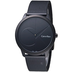 Calvin Klein minimal  大 ck 簡約時尚腕錶-黑/40mm