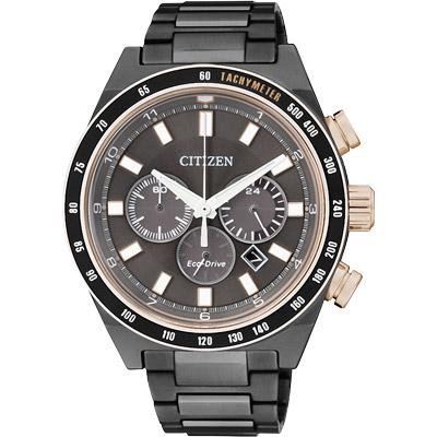 CITIZEN 光動能 與天競時三眼計時腕錶(CA4207-53H)-鍍黑/42mm