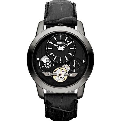 FOSSIL Twist 雙機芯都會時尚腕錶(ME1126)-黑