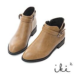 iki2 單扣造型側邊拉鍊粗跟短靴-褐