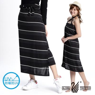 【遊遍天下】MIT台灣製涼感抗UV防曬吸排多功能一片裙117(加大尺碼)黑條格