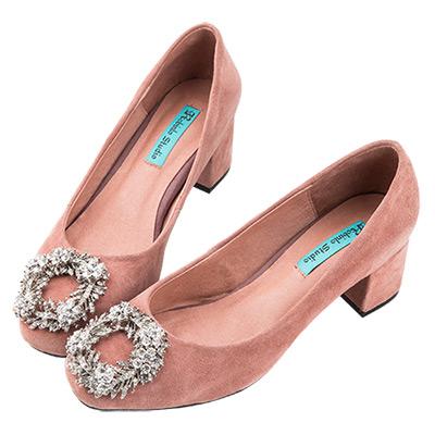 Robinlo Studio 甜美璀璨馬卡龍麂皮粗跟鞋 粉紅