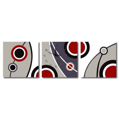 美學 365  - 三聯式流行家飾無框藝術掛畫時鐘-時尚圈- 40 x 40 cm