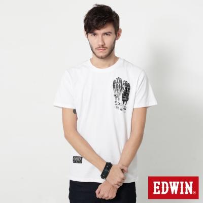 EDWIN 騎士手套印花短袖T恤-男-白色