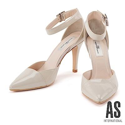 高跟鞋 AS 典雅美型漆皮瑪麗珍尖頭高跟鞋-米