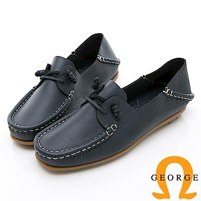 GEORGE 喬治-水洗系列 素面繩結大底休閒鞋 女鞋-深藍