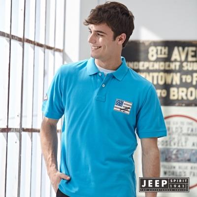 JEEP 夏日洗舊風美國旗刺繡短袖POLO衫 (藍色)