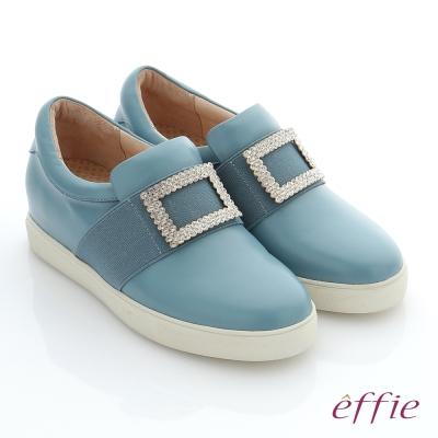 effie 彈力舒芙 真皮方形水鑽奈米機能休閒鞋 粉藍色