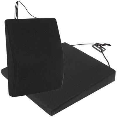 源之氣 竹炭透氣記憶可調式腰墊+透氣斜坡記憶坐墊組合(黑)(9447+9448)