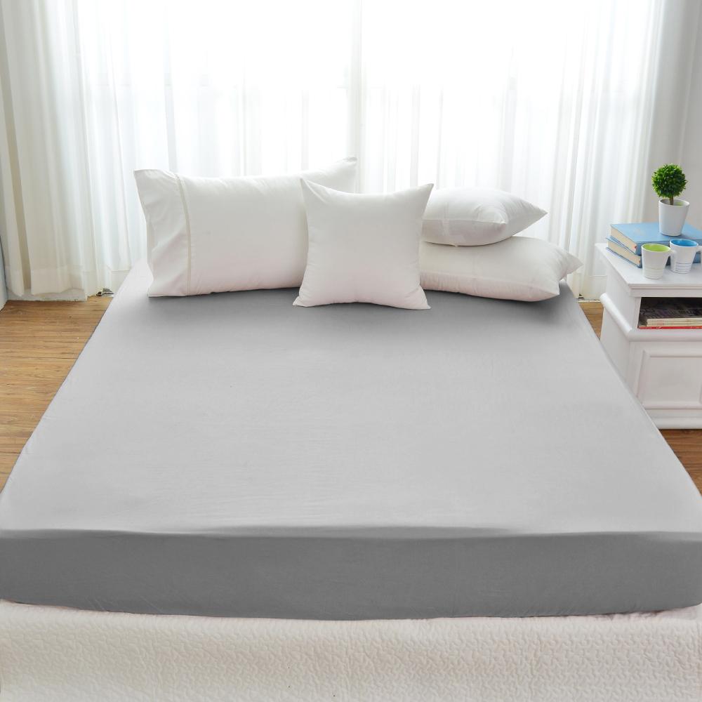 Cozy inn 極致純色-淺灰-300織精梳棉床包(加大)
