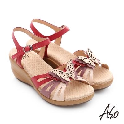 A.S.O 挺麗氣墊 真皮雙色蝴蝶環釦氣墊楔型涼拖鞋 桃粉紅