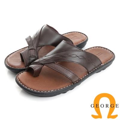 GEORGE 喬治-氣墊系列 真皮手縫涼鞋拖鞋(男)-棕色