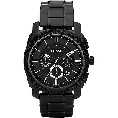 FOSSIL 領航者三眼計時腕錶-IP黑/45mm