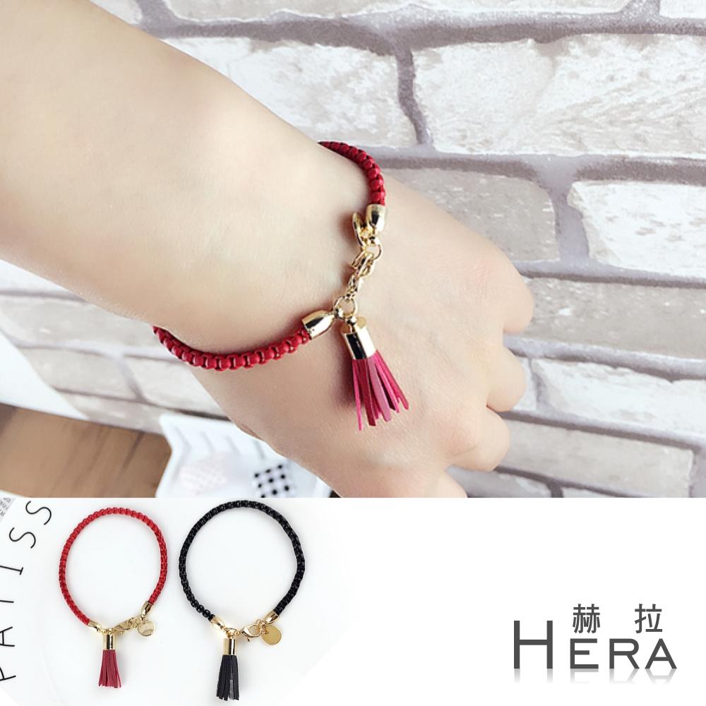 Hera 赫拉 金屬編織鍊條流蘇元牌手鍊