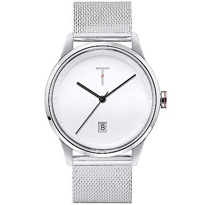 TYLOR 簡約時尚米蘭帶手錶-白X銀/43mm