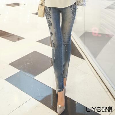 LIYO理優雕花布蕾絲牛仔褲(藍)