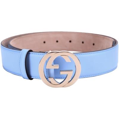 GUCCI-雙G金屬釦環腰帶-水藍色