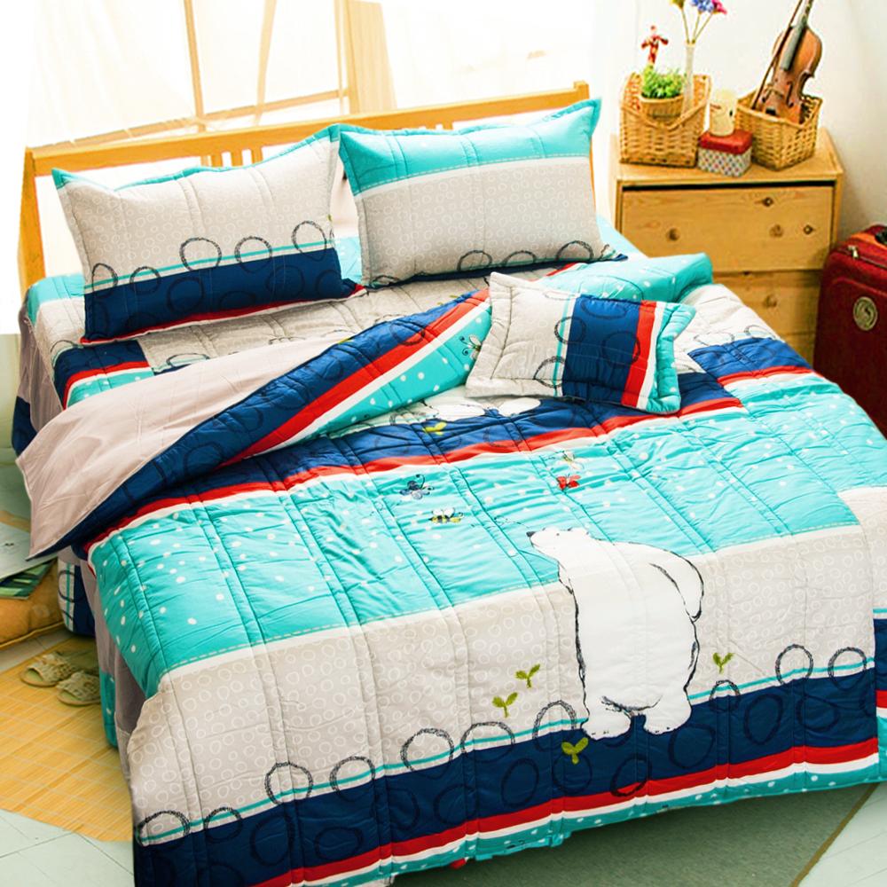 歡樂北極熊 台灣製雙人五件式純棉床罩組