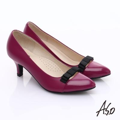 A.S.O 輕透美型 鏡面拼接牛皮蝴蝶飾尖頭跟鞋 桃粉紅