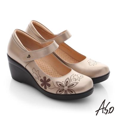 A.S.O 舒活寬楦 真皮圖騰楔型高跟鞋 古銅色