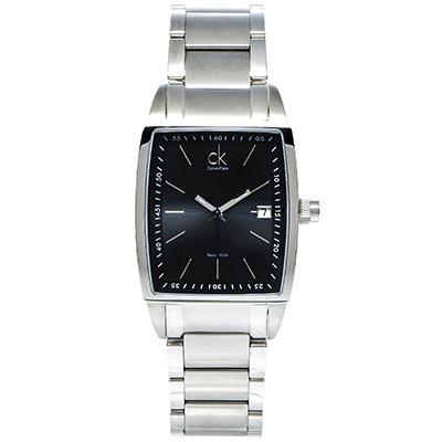 CK Calvin Klein Bold Square都會型男男性方形手錶-灰黑/35mm