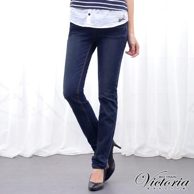 Victoria 中高腰繡花燙鑽直筒褲-女-深藍
