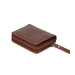 MARKBERG Delta 丹麥手工牛皮簡約側翻雙層短夾 錢包(古栗棕)